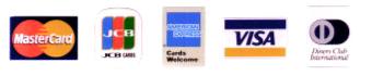 Mastercard / JCB / American Express / VISA / Diners Club